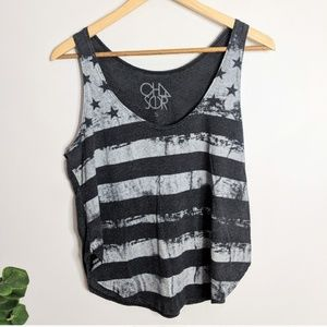 Chaser Distressed American Flag Tank Top Gray S